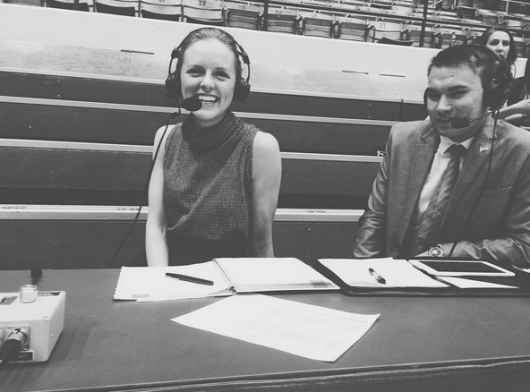 Maggie Heim works with Big Ten Network during an OSU women's volleyball home game. Credit: Courtesy of Maggie Heim