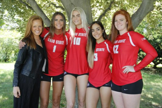 The Ohio State women's volleyball senior class poses for pictures. Credit: Courtesy of Maggie Heim