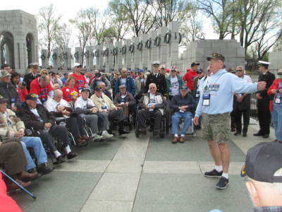 Central Ohio veterans receive a tour of the World War II memorial in Washington D.C. on April 2. Credit: Courtesy of Kay Downing
