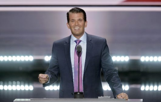 Donald Trump Jr., Donald Trump's son speaks on the second day of the Republican National Convention on July 19, 2016 at the Quicken Loans Arena in Cleveland, Ohio. Credit: TNS