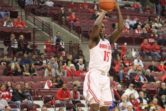 Kam Williams (15) shoots the ball during the Buckeyes home opener against North Carolina Central. The Buckeyes won 69-63. Ashley Nelson | Sports Director