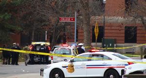 Columbus Police, OSU Police, the FBI and the Bureau of Alcohol, Tobacco and Firearms cordon off the area between College Road and 19th Avenue following an attack on OSU's campus on Nov. 28. Credit: Mason Swires | Assistant Photo Editor