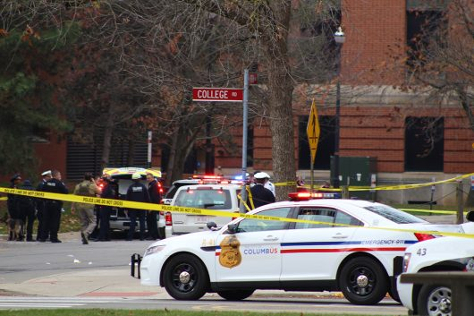 Columbus Police, OSU Police, the FBI and the Bureau of Alcohol, Tobacco and Firearms cordon off the area between College Road and 19th Avenue following an attack on OSU's campus on Nov. 28. Credit: Mason Swires   Assistant Photo Editor