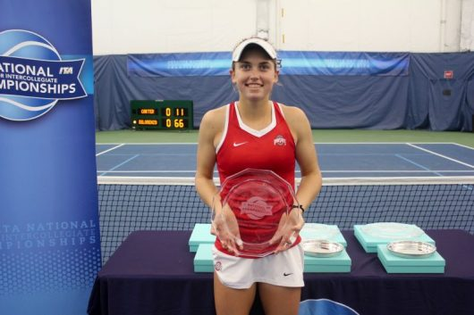 OSU sophomore Francesca Di Lorenzo holding the ITA national indoor championship trophy. Credit: Courtesy of OSU Atheltics