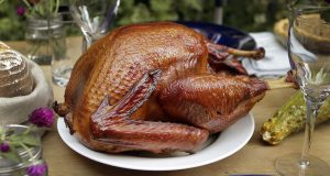 A smoked turkey is served at the Laurel Canyon home of chefs Karen and Quinn Hatfield in Los Angeles, California. (Kirk McKoy/Los Angeles Times/MCT)