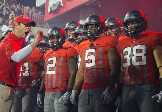 The Ohio State football team wears throwback jerseys for their game against Nebraska on Nov. 5. The Buckeyes won 62-3. Credit: Alexa Mavrogianis | Photo Editor