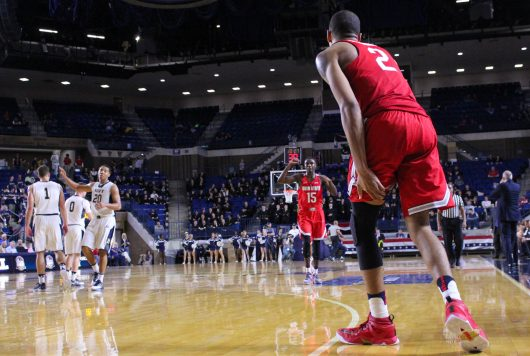 OSU senior forward Marc Loving (2) looks down the court to redshirt junior guard Kam Williams (15) during the Buckeyes 78-68 win over Navy on Nov. 11. Credit: Alexa Mavrogianis | Photo Editor