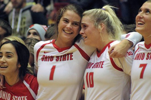 Emotions ran high after Ohio State won a match against Penn State on Nov. 12. Credit: Jenna Leinasars | Assistant News Director