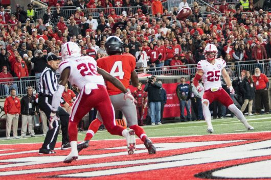 OSU junior H-back Curtis Samuel (4) watches the ball before his touchdown catch during first half of the Buckeyes game against Nebraska on Nov. 5. The Buckeyes won 62-3. Credit: Alexa Mavrogianis | Photo Editor
