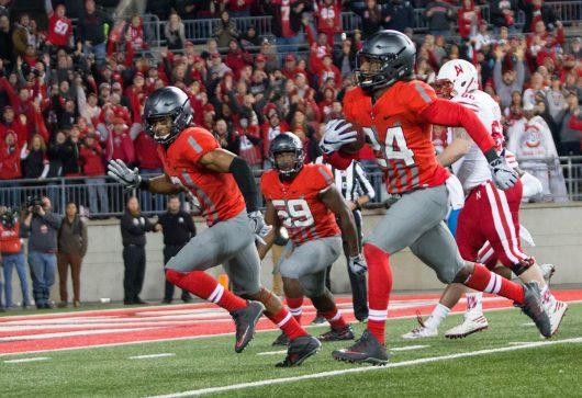 OSU redshirt sophomore safety Malik Hooker (24) returns an interception during the second half of the Buckeyes game against Nebraska on Nov. 5. The Buckeyes won 62-3. Credit: Alexa Mavrogianis | Photo Editor