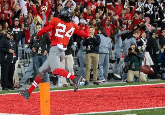 OSU redshirt sophomore safety Malik Hooker (24) celebrates his pick-six during the second half of the Buckeyes game against Nebraska on Nov. 5. The Buckeyes won 62-3. Credit: Alexa Mavrogianis | Photo Editor