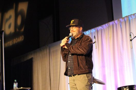 Comedian H. Jon Benjamin speaks to the sold-out crowd at the Ohio Union grand ballroom on Nov. 4. Credit: Rachel Bules | Lantern reporter