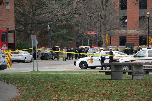 Police vehicles line up alongside College Road after the attack on Ohio State's campus on Nov. 28. Credit: Mason Swires | Assistant Photo Editor
