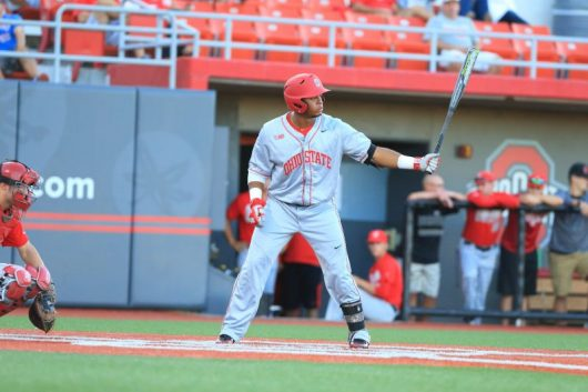 Junior outfielder Noah McGowan steps to the plate during the Scarlet and Gray World Series on October 7, 2016 at Bill Davis Stadium. Credit: Courtesy of OSU Athletics