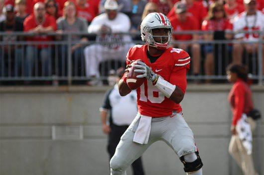 OSU Redshirt Junior Quarterback J.T. Barret (16) drops back into the pocket for a pass during the game against Northwestern on Oct. 29, 2016 at Ohio Stadium. The Buckeyes won 24-20. Credit: Mason Swires | Assistant Photo Editor