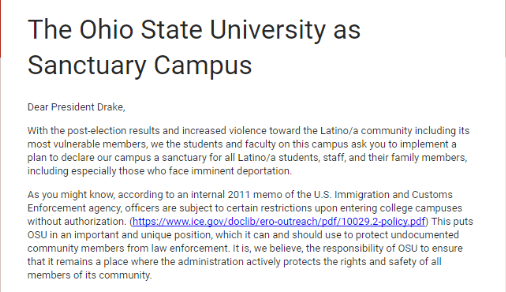 A snippet of the petition Ohio State students sent University President Michael Drake.