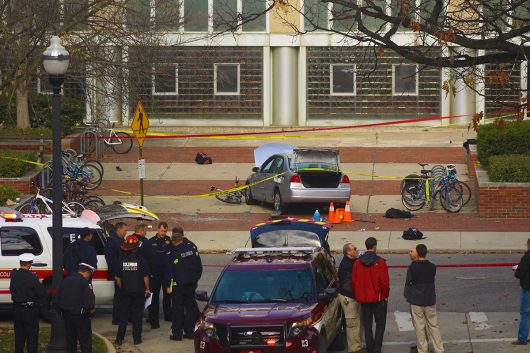 Columbus Police, Fire and other agencies surround the attacker's car that hit multiple students outside of Watts Hall on Nov.28. Credit: Mason Swires | Assistant Photo Editor