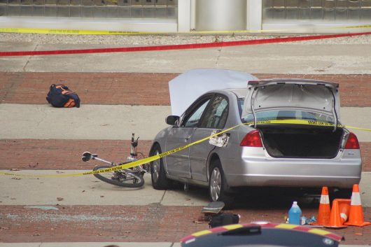 A close up of the attacker's car that plowed into a group of OSU students on the morning of Nov. 28 outside of Watts Hall. Credit: Mason Swires   Assistant Photo Editor