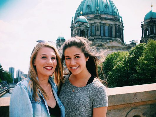 Kelly Jones, right, a third-year in health sciences, poses for a picture in Berlin during her 2016 May-session study-abroad program. Credit: Courtesy of Kelly Jones