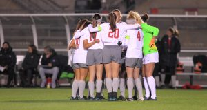The Ohio State University women's soccer team compete in the first round of the 2016 NCAA Tournament vs. Dayton. November 12, 2016. Credit: Courtesy of OSU athletics