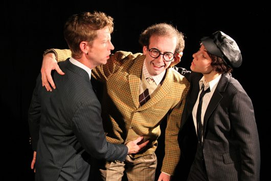 """Michael Erickson as Stanley, left to right, Gabriel Simms as Francis and Elizabeth Girvin as Rachel in The Ohio State University Department of Theatre production of """"One Man, Two Gunners"""". Credit: Courtesy of Matt Hazard"""