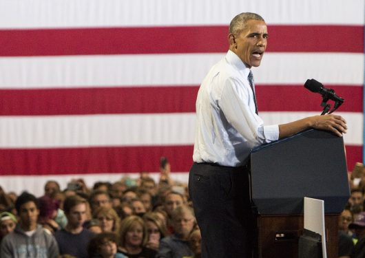 Barack Obama addressed a crowd at Capital University this Tuesday in support of Democratic presidential nominee Hillary Clinton.
