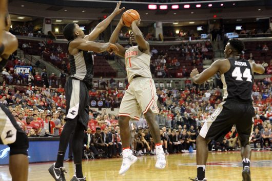 OSU junior forward Jae'Sean Tate (1) shoots the ball during the Buckeyes' 72-67 win over Providence on Nov. 17. Credit: Ashley Nelson | Sports Director