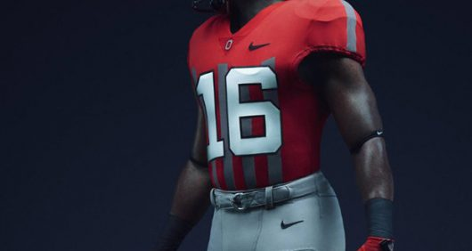 No. 6 Ohio State will wear 1916 throwback uniforms versus No. 9 Nebraska on Nov. 5. Credit: @darrenrovell