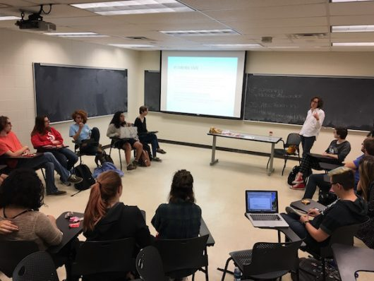 Students gather for a FemUNITY meeting on Nov. 1. Credit: Lydia Freudenberg | For The Lantern