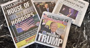 Newspapers covers following Donald Trump's presidential win November 9, 2016. Donald Trump has defeated Hillary Clinton to take the US presidency, stunning America and the world. Photo by Lionel Hahn/ABACAPRESS.com
