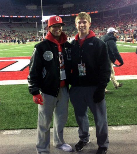 Noah West (left) and Gavin Lyon (right) pose for a photo on a visit at an Ohio State football game. Credit: Courtesy of Carrie West