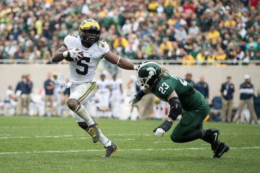 Jabrill Peppers runs the ball during Michigan's 32-23 win over Michigan State at Spartan Stadium in East Lansing, MI. Courtesy of TNS