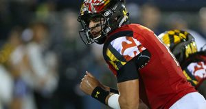 Maryland quarterback Perry Hills calls a play against FIU in the third quarter on Friday, Sept. 9, 2016, at FIU Stadium in Miami. (David Santiago/El Nuevo Herald/TNS)