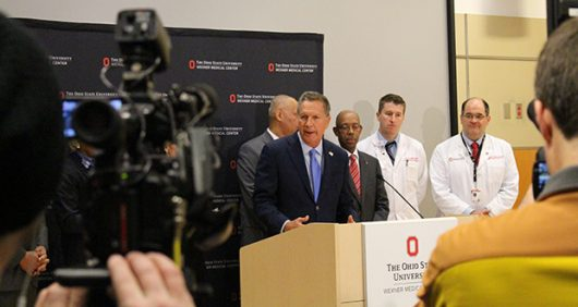 Governor John Kasich and Univeristy President Michael Drake speak at a press conference following the attacks on Ohio State's campus. Credit: Dan Smyth | Lantern Reporter