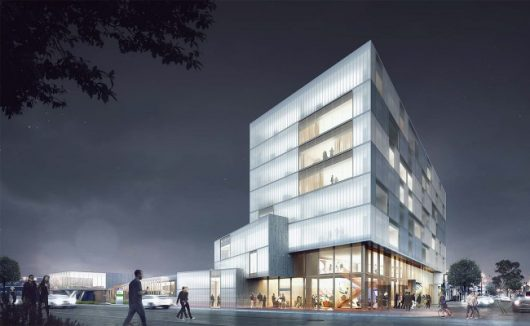 An eight-story hotel is proposed for the corner of North High Street and West Eighth Avenue with plans for retail space and a library. Credit: Courtesy of NBBJ.