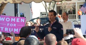 Donald Trump Jr. campaigns for his father in Grove City, Ohio, on Nov. 6. Credit: Kevin Stankiewicz | Oller Reporter