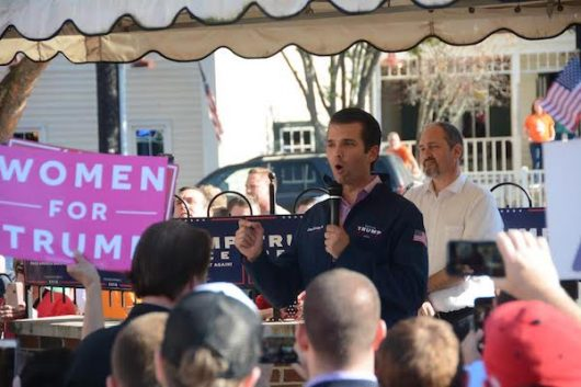 Donald Trump Jr. campaigns for his father in Grove City, Ohio, on Nov. 6. Credit: Kevin Stankiewicz   Oller Reporter