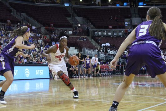 OSU redshirt sophomore guard Sierra Calhoun (4) turns the corner to drive to the hoop during a scrimmage against Ashland on Nov. 6 at the Schottenstein Center. OSU won, 88-78. Credit: Zach Konno | For The Lantern