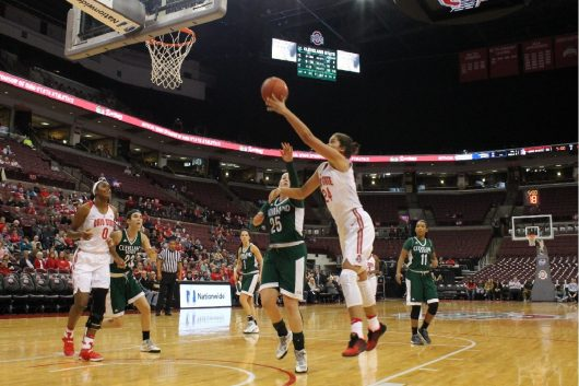 OSU redshirt sophomore Makayla Waterman (25) attempts a shot during the Buckeyes' game against Cleveland State on Nov. 16. Credit: Carlee Frank   For The Lantern