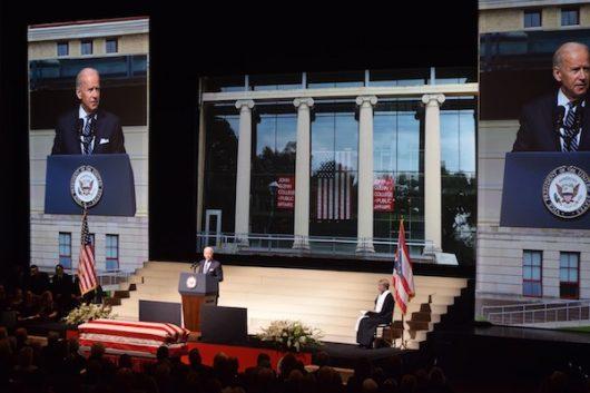 Vice President Joe Biden speaks at the ceremony held for John Glenn at the Mershon Auditorium on Dec. 17. Credit: Sheridan Hendrix