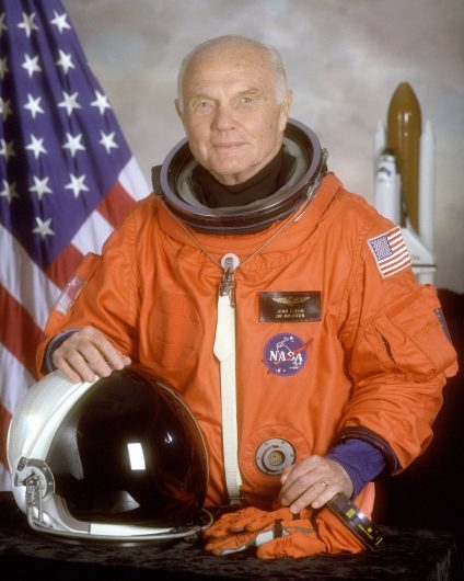 Portrait of John Glenn before making his return to space at the age of 77 as a payload specialist aboard the Space Shuttle Discovery in 1998. Credit: NASA