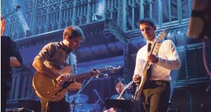 Joe Peppercorn (left) and Matt Peppercorn perform at the 2015 Beatles Marathon. Credit: Courtesy of Amy Peppercorn