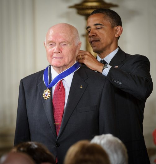 President Barack Obama presents John Glenn with a Medal of Freedom on May 29, 2012, during a ceremony at the White House in Washington D.C. Credit: Courtesy of NASA