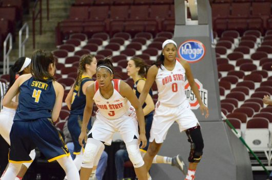 OSU junior guard Kelsey Mitchell guards the ball in the Buckeyes 89-56 victory over Canisius on Dec. 11 at the Schottenstein Center. Credit: Courtesy of Ohio State Athletics
