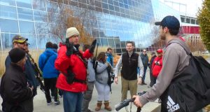 Jeffrey Smith, the organizer of the protest, speaks with a student about Ohio gun laws on Dec. 5 in front of the RPAC. Credit: Nick McWilliams | Sports Editor