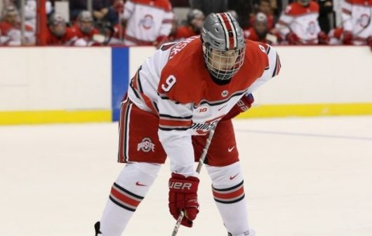 OSU freshman forward Tanner Laczynski stares down a faceoff in OSU's exhibition game against Wilfried Laurier on Oct. 2 at the Schottenstein Center. OSU won 9-2. Credit: Courtesy of OSU Athletics
