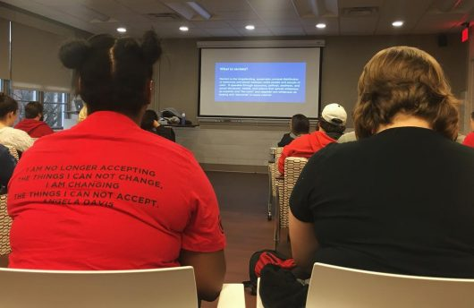 Students listen to a presentation on race put on by professors in the Department of Women's, Gender and Sexuality Studies. Credit: Gracie Fleisher | Lantern Reporter