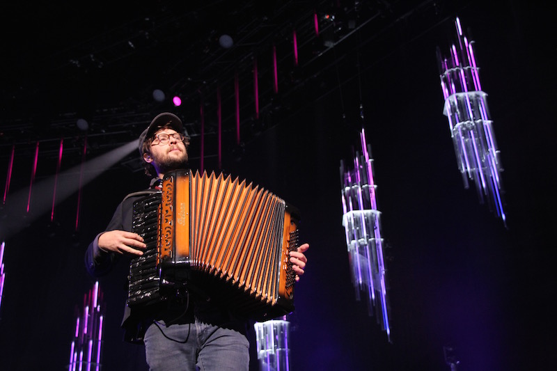 Stelth Ulvang plays the accordion for The Lumineers for their set in Columbus on Jan. 28. Credit: Ashley Nelson | Sports Director