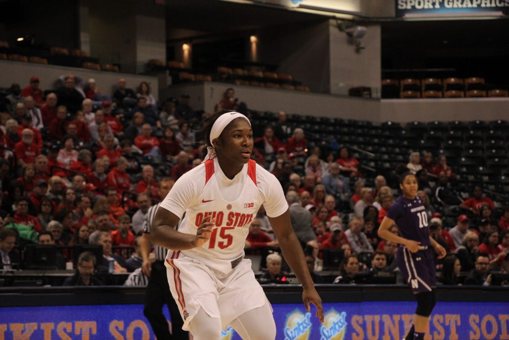 OSU redshirt junior guard Linnae Harper waits for the ball to be inbounded in the Big Ten tournament against Northwestern on March 3. Credit: Ashley Nelson   Sports Director