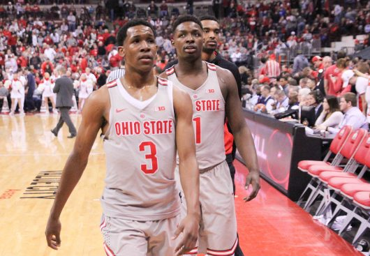 Ohio State sophomore guard C.J. Jackson (3) and junior forward Jae'Sean Tate (1) walk off the court at halftime of OSU's 96-92 loss to Indiana on March 4. Credit: Mason Swires | Former Assistant Sports Editor